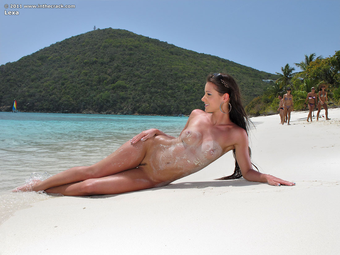 naked pale on the beach