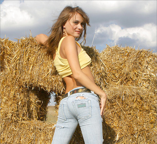 Naked in the hay fields