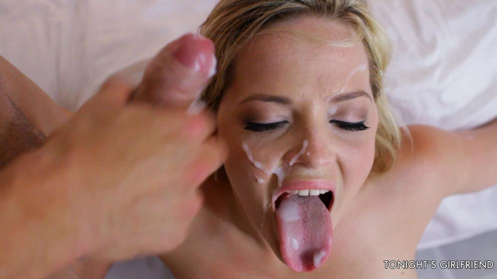 Sperm swap sexy scene with big cum tasting for two hot honey